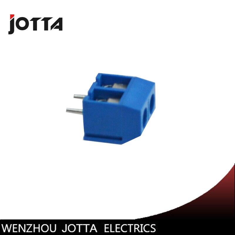 100 pcs Screw 2Pin 5.0mm Straight Pin PCB Terminal Block Connector