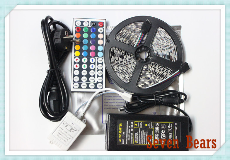 waterproof Ip20/65 White/Black PCB led strip light 5050 300led 5M RGB led rope +44key IR remote controller + 12V 5ATransformer