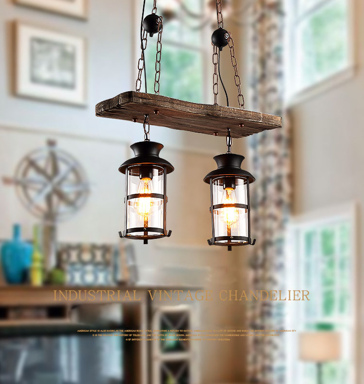Vintage Retro Loft American Country Style Dual Heads Metal Droplight with Wood Panel Chain Pendant Light for Bar Cafe Inn - 5