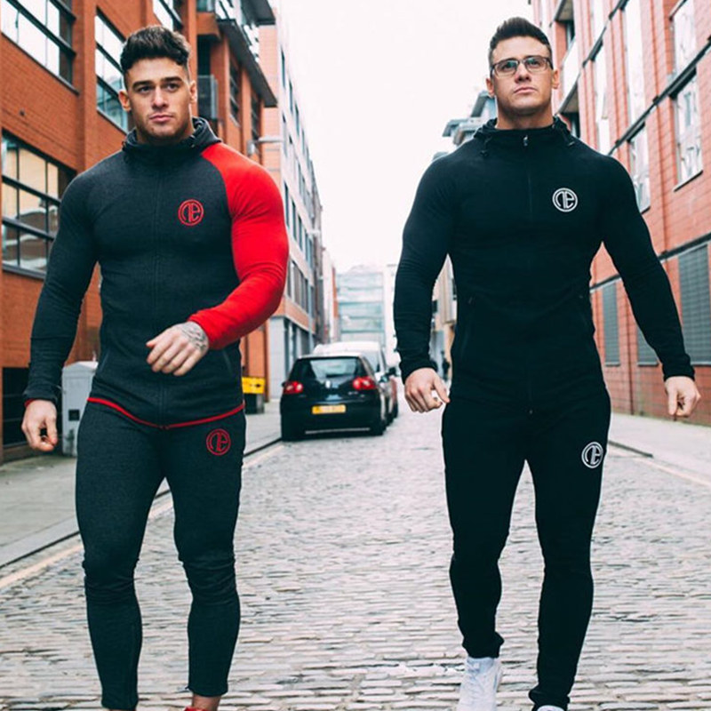 Mens Running Sportswear Sets Sweatshirt Sweatpants Gym Fitness Bodybuilding Hoodies Tops Pants Male Jogging Workout Tracksuits