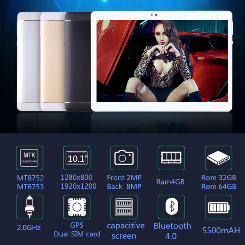 2018 10.1' Tablets 8 Octa Core 32GB 64GB ROM Google Android 7.0 10 Tablet PC 3G 4G LTE WIFI  GPS bluetooth phone MT8752 S109
