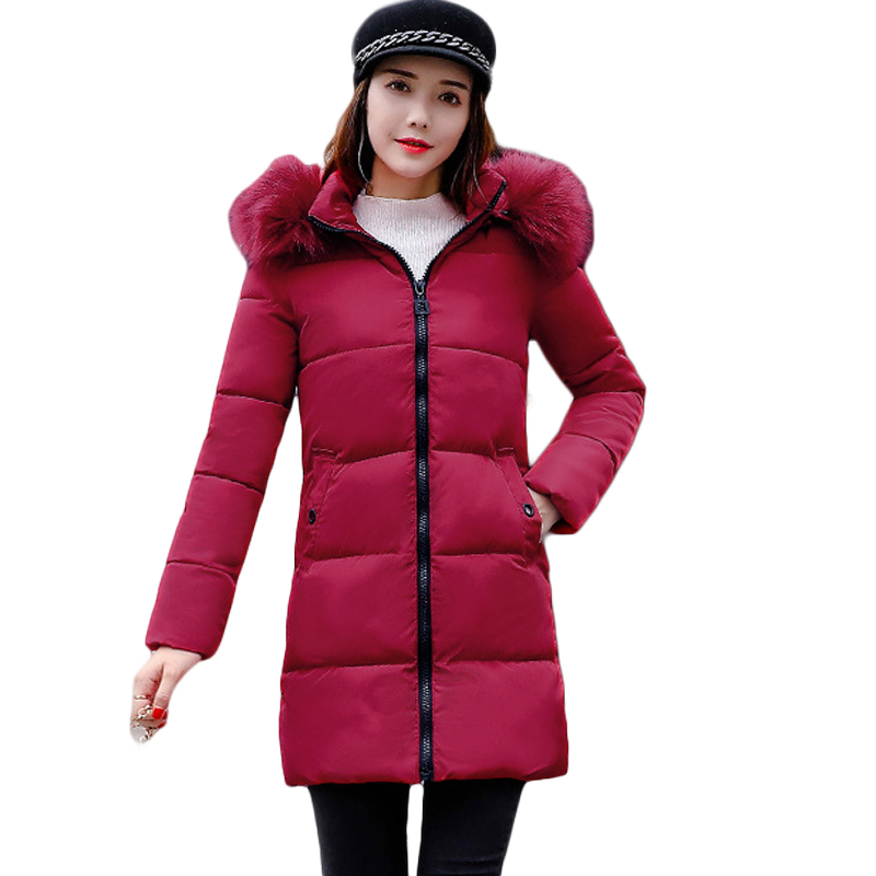 2018 New Fashion Women Winter Jacket With Fur Collar Warm Hooded Female Womens Winter Coat Long   Parka   Outerwear Camperas CM578