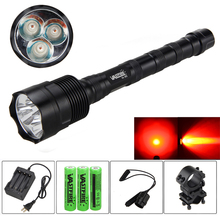 LED Tactical Gun Flashlight r5 Green/Red Torch lantern optional Rail 20mm Airsoft Rifle Scope Mount+18650 battery+charger+switch vastfire led tactical gun flashlight va 802 xml t6 hunting torch lantern rail 20mm airsoft rifle scope mount gun scout light