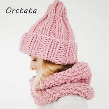 Winter Pink Woolen Knit Women Beanies Hats Cap Fashion Unisex Spring Autumn Solid Coarse Yarn Warm Knitted Men Skullies Cap Hat