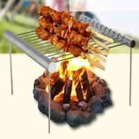 Portátil de aço inoxidável churrasqueira dobrável churrasqueira mini bolso churrasqueira acessórios para casa/parque ao ar livre usando|Grelha de churrasco|Casa e Jardim -