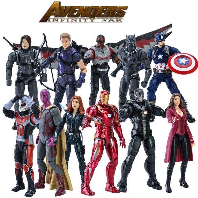קפטן אמריקה: מלחמת האזרחים פלקון איש ברזל ספיידרמן ענק-איש PVC פעולה איור אסיפה דגם צעצוע
