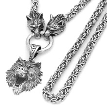 Nordic viking Odin wolf with wolf head Geri and Freki necklace Stainless steel for men  king chain with valknut gift bag