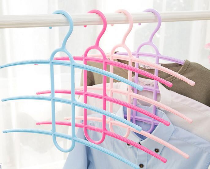 2PCS/SET Multifunction Nonslip Fish Bone multilayer hanger clothes drying racks clothing hangers tie scarf rack Closet Organizer