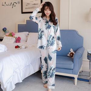Image 3 - Pijamas de M 5XL de talla grande para mujer, top de seda satinado + Pantalones largos, conjunto de noche