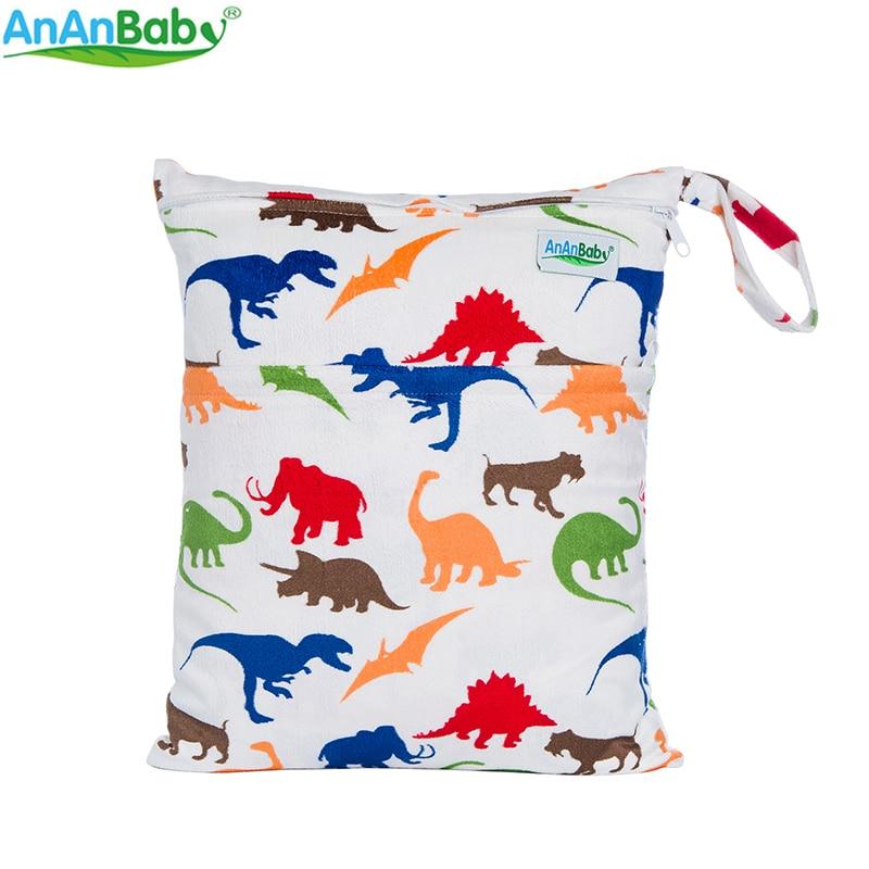 Bolsas mojadas impresas reutilizables reutilizables del pañal del paño del bebé del diseño Bolsas del pañal del paño impermeable con la cremallera