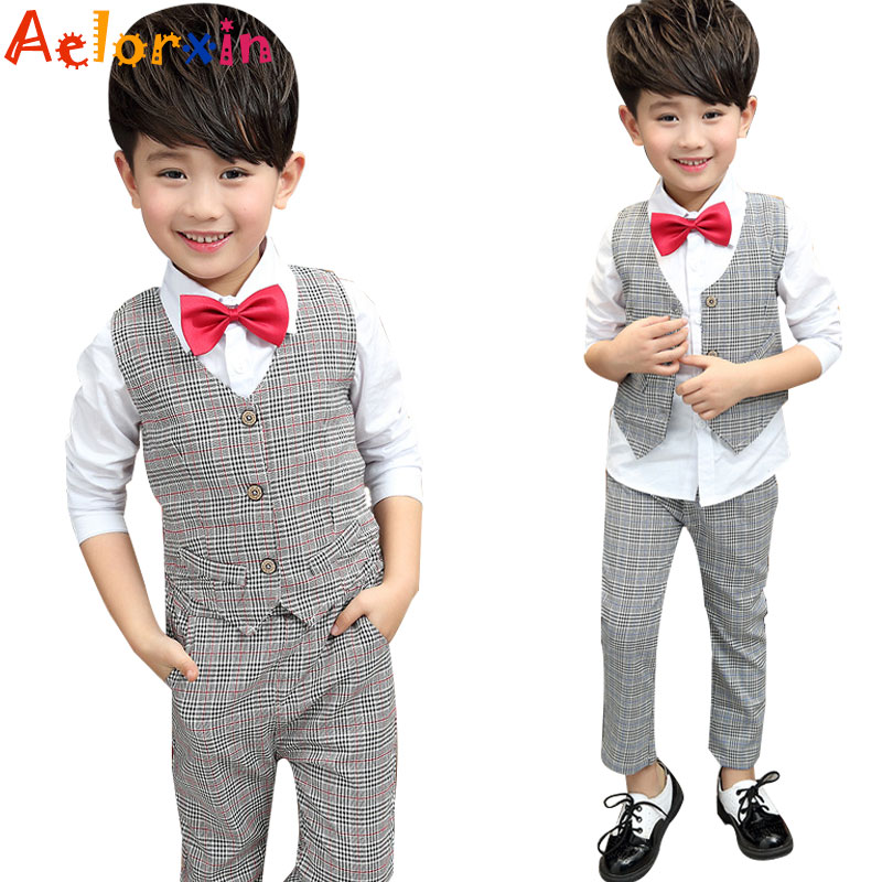 2018 Spring Boy Formal Set Vest+ Shirt+trousers Kids Casual 3pcs Childrens Clothes 2-10y Costumes For Boys Kids Clothes Boys baby boy clothes suits vest plaid shirt pants 3pcs set party formal gentleman wedding long sleeve kid clothing set free shipping