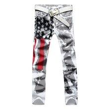 Новый Люксовый Бренд Мужские Джинсы Стрейч Американский Флаг Печать Вырезать джинсы Мужчин Случайные Тонкий Ценывключают Брюки Джинсовые Hip Hop Jeans брюки