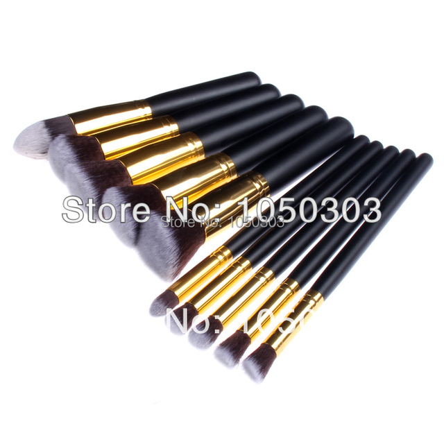 High Quality 10 pieces Super soft Taklon hair Golden makeup brush set golden makeup brush kit free shipping