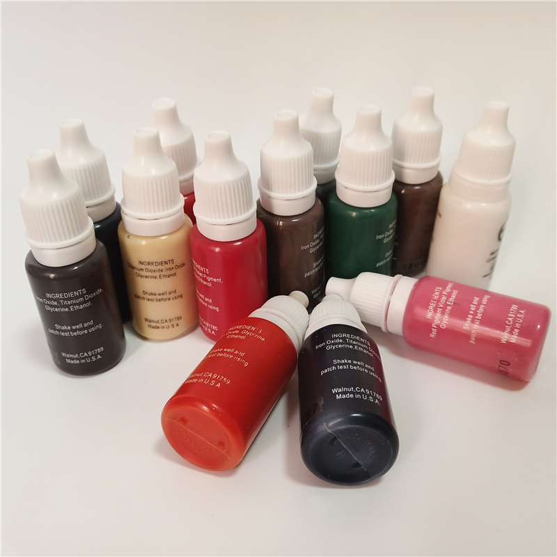 10pcs tattoo ink color permanent makeup micropigment 15ml 1 2oz cosmetic manual paint for lips eyebrow