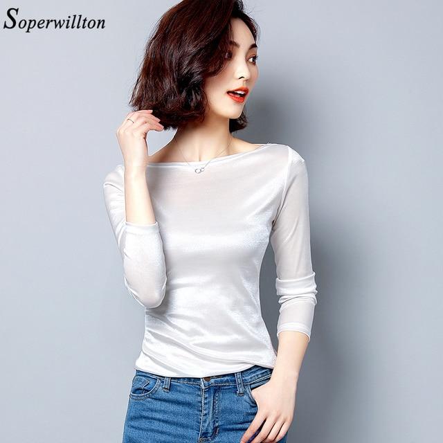 Satin graceful Office Lady Shirt Long Sleeve Women Blouses Slash Nech Female Tops 2019 New Arrived White Black Slim Blouse 2
