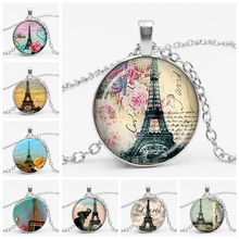Fashion Vintage Paris Eiffel Tower Glass Gems Necklace Convex Pendant Flowers Music Men's and Women's Jewelry stylish eiffel tower pendant necklace for women