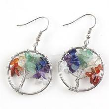 hot deal buy 2017 fashion trendy earrings  natural amethyst rose quartz garnet turquoise tree of life earrings elegant women's earring