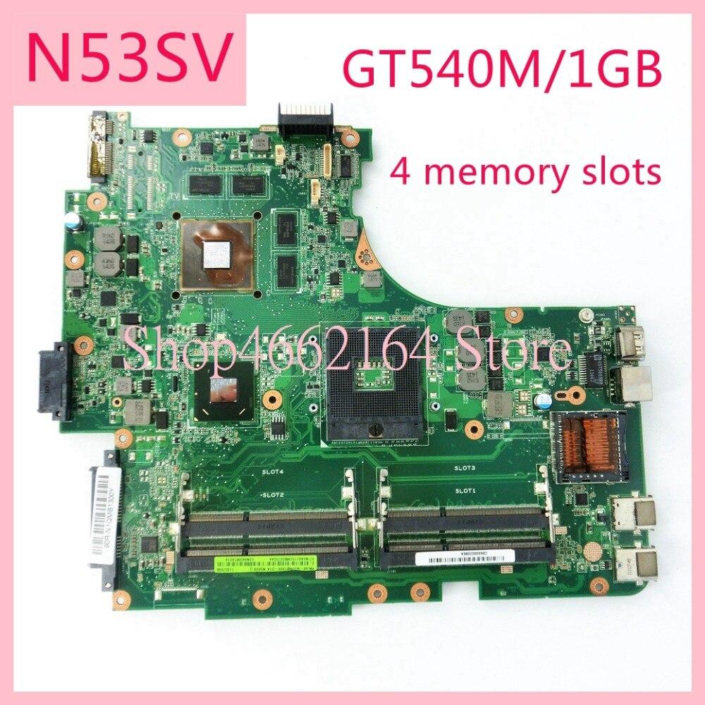 N53SV 4 memory slots GT540M/1GB mainboard REV2.0/REV2.2 For ASUS N53S N53SV N53SN N53SM Laptop motherboard MAIN BOARD-in Laptop Motherboard from Computer & Office