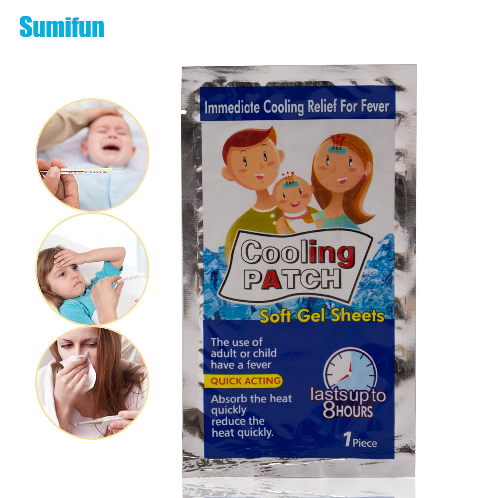 Sumifun 8bags Cooling Patches Adult Baby Fever Down Medical Plaster Migraine Headache Pad Lower Temperature Stickers D1729