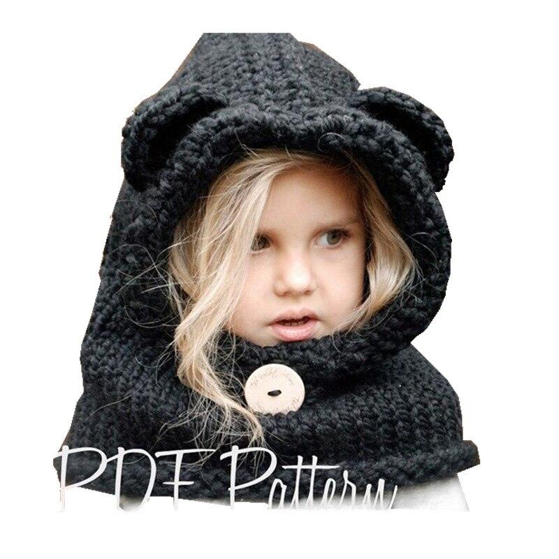 3-8 Years Baby Girls Hats Handmade Kids Winter Hats Wrap Fox Scarf Caps Cute Autumn Children Wool Knitted Hats Drop Shipping