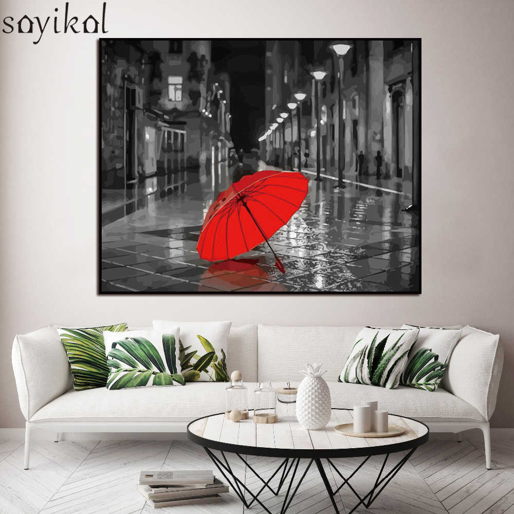 Wooden Framed DIY Painting By Numbers Kit Red Umbrella Landscape Acrylic Paint By Number Modern Wall Art Picture Canvas Painting