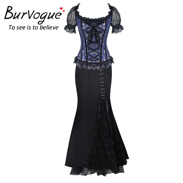 Burvogue Long Skirts Jacquard Gothic Steampunk Corset Dress Sets Waist Control Corsets & Mermaid Skirt Dress Corset Costume Sets