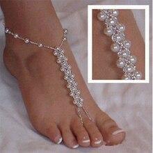 Estilo de lujo hechos a mano perlas sandalia para el tobillo de la cadena de novia encanto elástico del pie de playa de imitación mujeres descalzas joyería 2 unids
