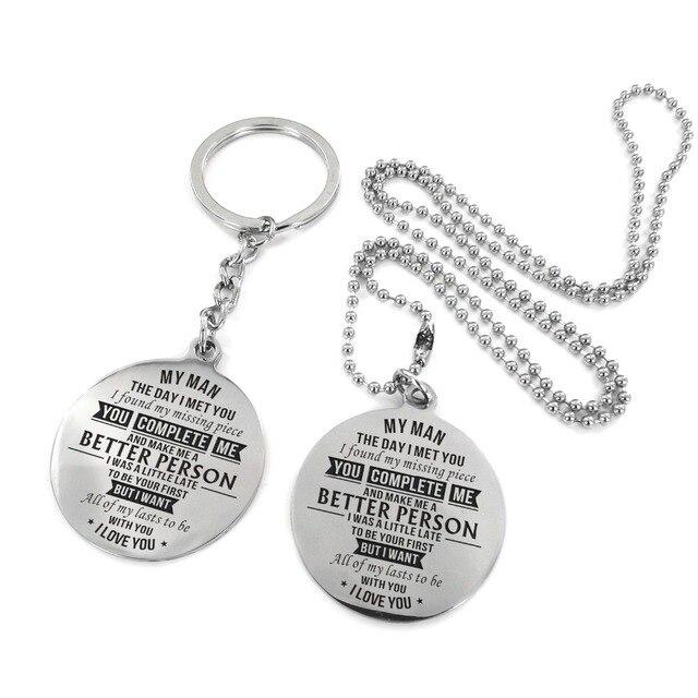 Para mi novio-Te amo más largo grabado collar de acero inoxidable y llavero personalizado collar aniversario regalo militar para hombre