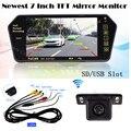 Auto más nuevo 7 Pulgadas de Pantalla TFT MP5 Bluetooth Colorido LCD monitor Del Espejo 1024*600 inalámbrica de visión Trasera cámara de reserva Sistema de aparcamiento
