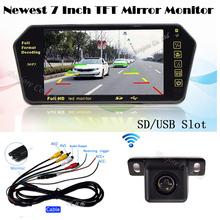 Newest Auto 7 Inch TFT Screen Bluetooth MP5 Colorful LCD Mirror monitor 1024*600 wireless Rear view backup camera parking System