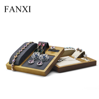 FANXI Solid Wooden Jewelry Display Stand with Microfiber for Ring Earring Necklace Exhibition Pendant holder Jewelry Organizer