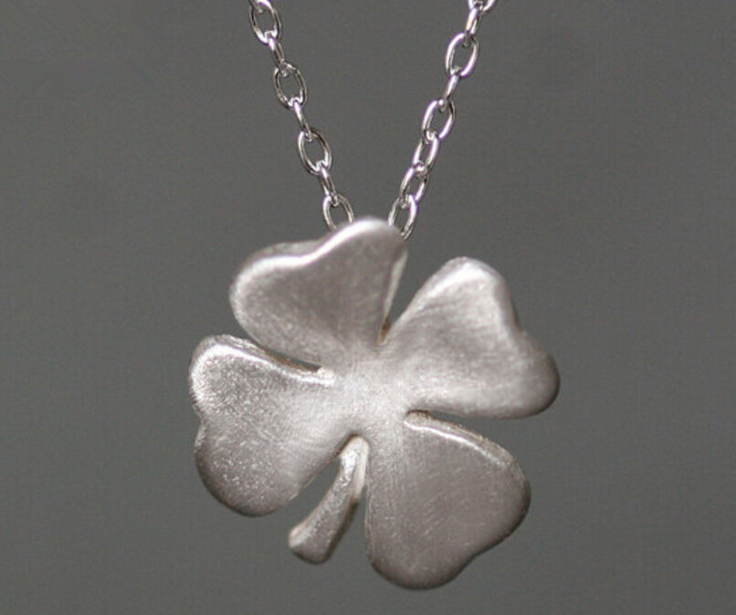 One of a kind 925 sterling silver clover matt gold surface pendant necklace 4 leaf jewelry