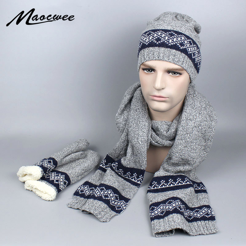 e760d3f8db7 2018 New Autumn Winter Scarf Hat   Glove Sets Wool Men s Hats Scarves Gloves  three piece Warm High Quality Men Knitted Cap-in Scarf