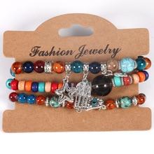 Fashion 7 Chakra Bead Bracelets&Bangles Elephant Eiffel Tower Anchor Tassel Pendant Bracelet for Women Jewelry YWXY2760