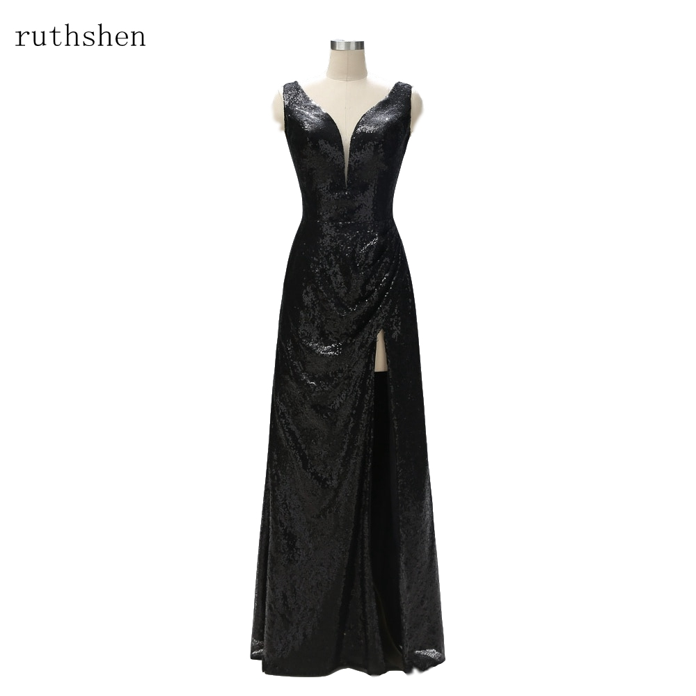 ruthshen Custom Long Bridal Mother Dresses Vintage Mother of the Bride Dresses Plus Size Sparkly Sequin Wedding Party Gowns 2019
