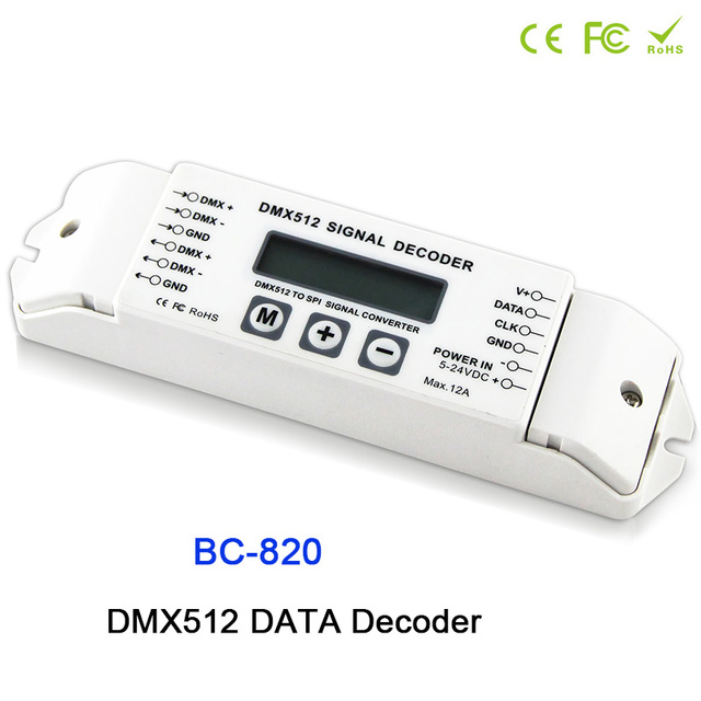 BC-820 DMX512 to SPI Signal Decoder convertor Controller for LPD6803 8806 WS2811/ 2801 WS2812B 9813 led pixel light;DC5V-24V