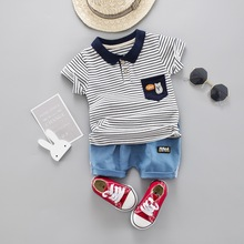 Boys Clothes Strip Summer Clothing Set Short Sleeve Turn Down Collar T Shirt + Jeans Suit Children Clothing Outfit все цены