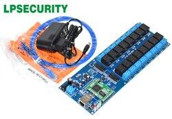 LPSECURITY LAN WAN RJ45 TCP/IP Red Industrial 16 canales placa de relé/controlador de automatización módulo interruptor de control remoto