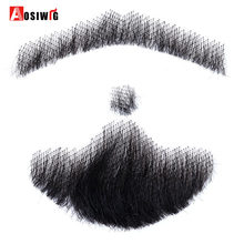 Hand Made Fake Beard Man Mustache Makeup for Film and Television Makeup Real Fancy Swiss Lace Invisible Reality Mustache AOSIWIG(China)