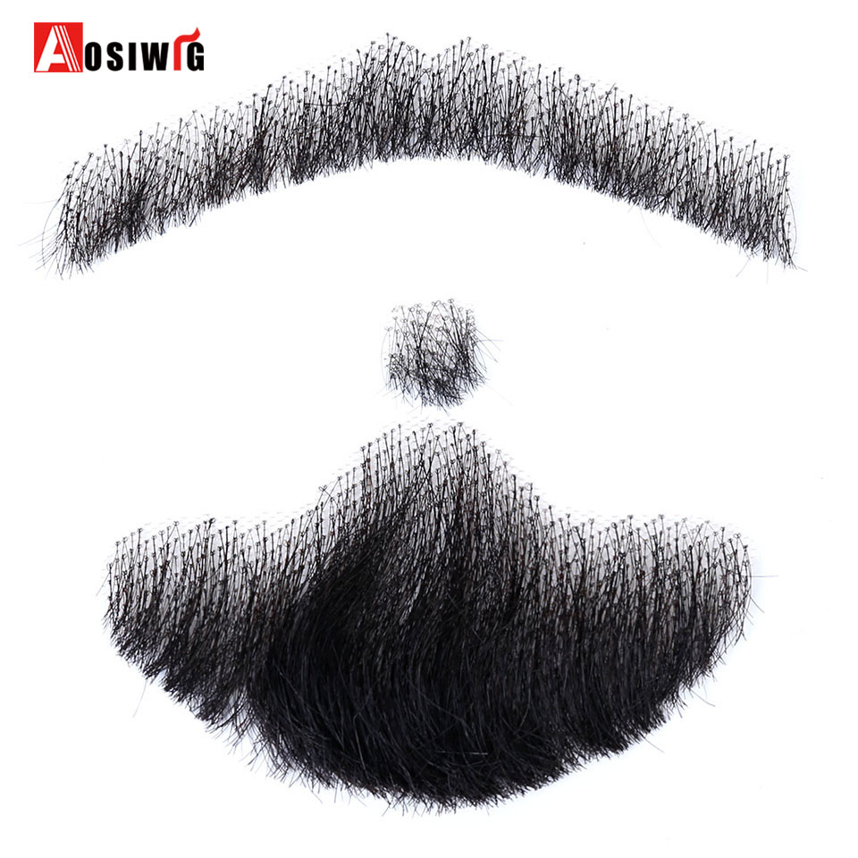 Hand Made Fake Beard Man Mustache Makeup for Film Television Makeup Real Fancy Synthetic Heat Resistant Reality Mustache AOSIWIG image