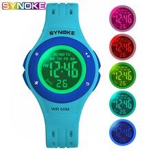 лучшая цена SYNOKE Kids Digital Watches Colorful Led Fashion Boys Girls Sports Watch Water Resistant Chronograph Alarm Green Children Watch