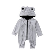 New Infant Baby Toddler 3D Frog Cotton Clothes Long Sleeves Romper Jumpsuit Playsuit Outfits Casual Cute(China)
