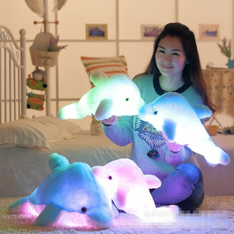 45cm Colorful Led Light Pillow Cushion Cute Stuffed Animals Dolphin Stuffed Plush Doll Toy Girl Birthday Gift Christmas ins hot swan soft toy cute ballerina moon cushion pink home sofa decoration pillow baby appease music doll kidstoy gift for girl