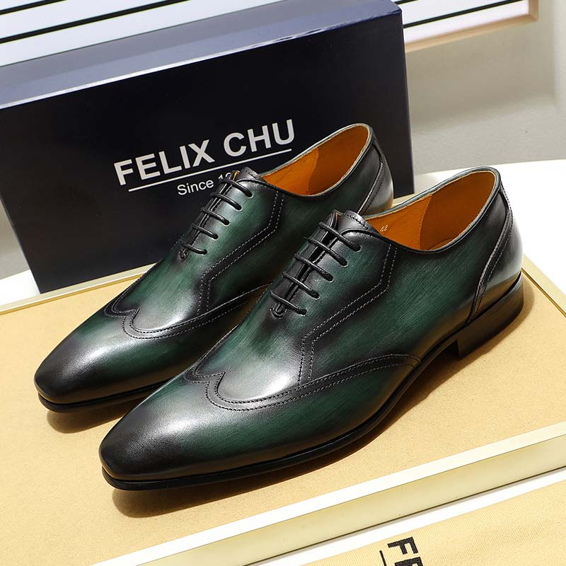 FELIX CHU Black Green Wingtip Oxfords Mens Shoes Hand Painted Lace Up Genuine Leather New Dress Shoes Men Pointed Toe Shoes felix chu luxury mens dress shoes genuine leather pointed toe brogue derby shoes green black male lace up formal shoes leather
