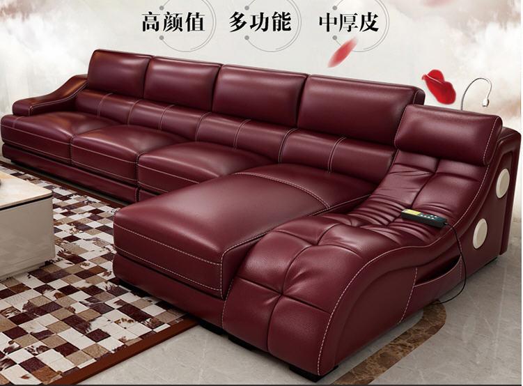 Leather Corner Sofa Set: Living Room Sofa Set Corner Sofa Massage Real Genuine Cow