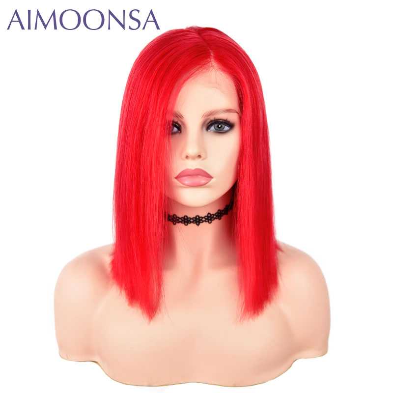 Red Color Non-Remy Human Brazilian Hair 13*6 Front Lace Wigs Density 150% Straight Human Hair Lace Wig With Baby Hair