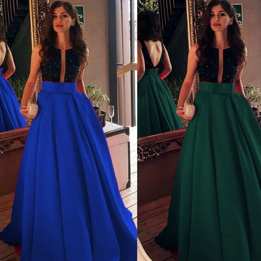 Charming Sequined A-line O-neck Satin Prom Dress With Bow Belt Backless Long Bridal Party Dress Formal Occasion Dress