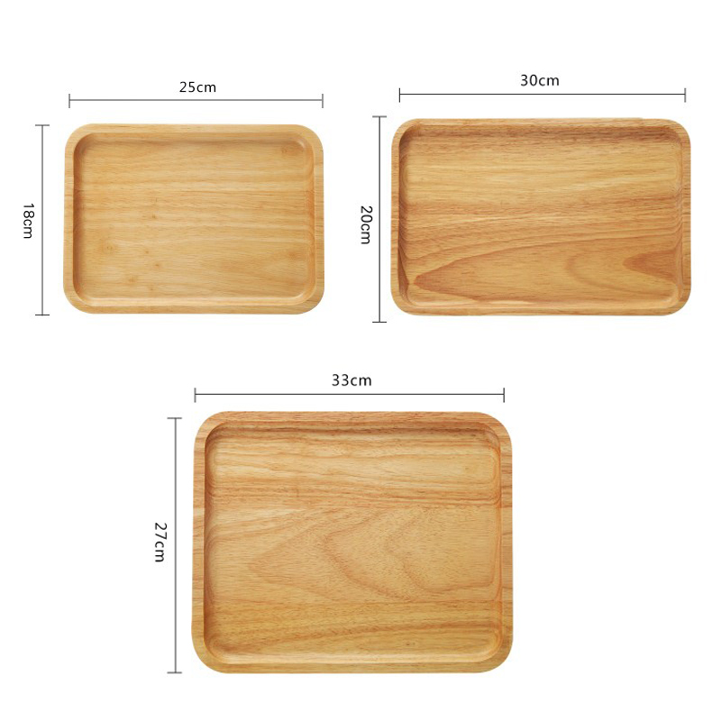 1pc Natural Wood Tray Rectangle Solid Wood Dish Plate Large Cake Dessert Tea Serving Tray Wooden Tableware Kitchen Serving Dish (2)