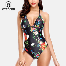 Attraco Womens Swimwear 2019 Monokini V-Neck One Piece Floral Print Bathing Suit Deep Plunge Padded Sexy Swimsuit Beachwear palm print backless plunge padded one piece bathing suit