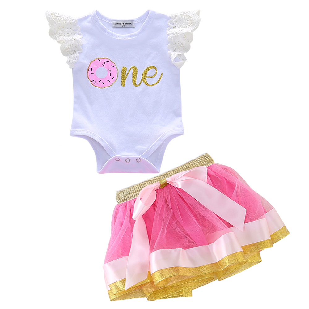 0 3T Baby Girl Skirt Set Lace Fly sleeve White Romper Gold Sequin Pink Tutu Skirts Toddler Summer Outfits Kids Clothing Set in Clothing Sets from Mother Kids